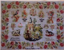SUPERB FRENCH ANTIQUE SAMPLER CROSS STITCH PATTERN CHART Albertine 1907