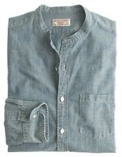 J Crew Wallace & Barnes Band Collar Japanese Selvedge Chambray Shirt Sz M $118