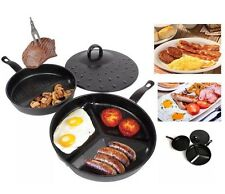 3 DIVIDE DIVIDED FRYING PAN SET NON STICK WONDER COMBO MORNING BREAKFAST COOKED