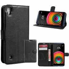 PU Leather Black Book Wallet Flip Stand Case Cover For LG X power K220