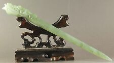 Chinese old natural jade hairpin phenix head hairpin 7.5inch