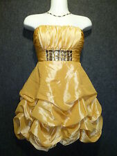 LENOVIA SATIN GOLD Strapless & Spaghetti Strap Bubble Dress SZ S NEW