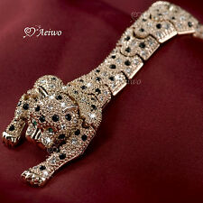 18K ROSE GOLD GP SWAROVSKI CRYSTAL LEOPARD BROOCH LONG