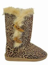 Black Tan Leopard Faux Suede Fur Trim Button Flat Slip On Mid Calf Winter Boots
