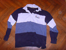 Men's rubgy type with collar top. Horizontal blue stripes Seashore medium