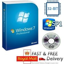 Windows 7 Professional 32-bit SP1 Full Version & License COA Product Key on DVD