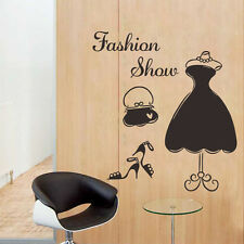 Fashion Show Dress Wall Decal PVC Mural Women Dressing Room Decor Closet Sticker