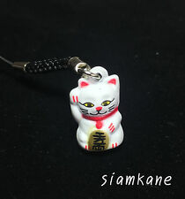 Lucky Cat Maneki Neko Japanese Bell 2.3 cm. White Black Strap