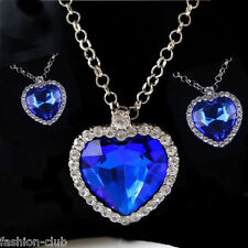 Hot Titanic Blue Heart of Ocean Crystal Rhinestone Charms Pendant Chain Necklace