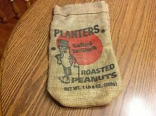 Vintage Planters Peanut Salted In Shell Roasted 1lb 8oz Burlap Bad Advertising