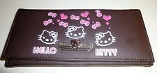 Hello Kitty Brown faux leather CLUTCH WALLET Pink bows and hearts