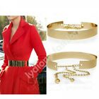 New Gold Wide Plate Full Metal Waist Waistband Band Mirror Chains H Belt Party