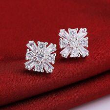 Beauty Lady's 925 Silver Plated Cubic Zircon Stud Earrings NF