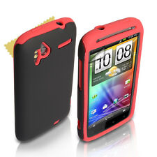 Stylish Red & Black Silicone Gel HTC Sensation Combo Case Cover With Screen Film