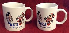 Set Of Two VINTAGE DISNEY CHANNEL MICKEY MOUSE MINNIE 10oz. COFFEE MUG TEA CUP
