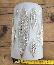 VINTAGE SINGLE  HEAVY 1950's  RAISED CLEAR LEAF PATTERN PRESSED  GLASS SHADE