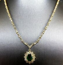 Oval Colombian Emerald & Diamond Tennis Necklace Pendant 18K Yellow Gold 15.95Ct