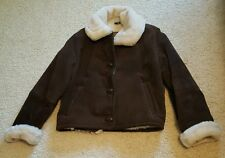 Express Women's Brown Suede Leather Winter Fashion Jacket Small Fur Lined Warm