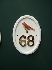 HERMIT THRUSH hand-painted Bird Motif house number sign any number 1 to 999