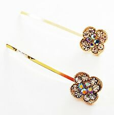 USA Bobby Pin Rhinestone Crystal Hair Clip Hairpin Simple Fashion Gold Clear B1