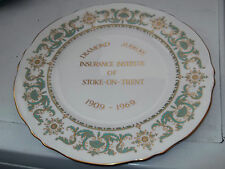 CROWN STAFFORDSHIRE GRANDE PLAQUE POUR DIAMOND JUBILEE INSURANCE INSTITUTE STOKE