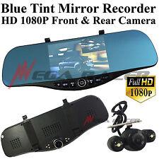 1080P HD Front/Back Up Camera Recorder Rearview Blue Tint Mirror Kit #t17 Honda