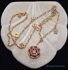 Joan Rivers Multi Color Flower Charms & Locket Gold Tone Pendant Necklace