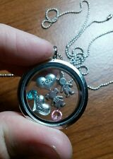 For Mom customizable birthstones kids - living floating memory charm necklace