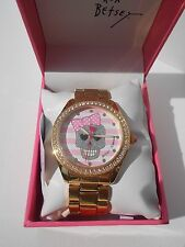 Betsey Johnson BJ00048-149 Skull Pink Bow Gold Tone Watch