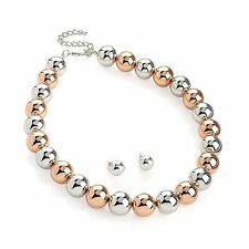Two Tone Rose Gold Colour & Silver Colour Bead Necklace & Earring Set