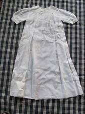 Antique Long Embroidered & Scalloped White Cotton Baby Girl Boy Night Gown Dress