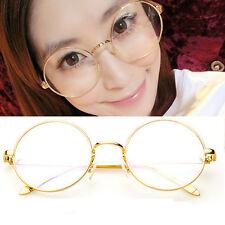 Retro Round Gold Man Women Full Eyeglasses Frames Glasses Spectacles Plain Lens