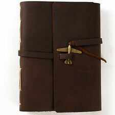Ancicraft Leather Journal with Airplane Charm A5 Blank Craft Paper Brown Travel
