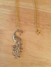 """Brand New - Beautiful Vintage Style Gold Pretty Peacock Costume Necklace - 13"""""""
