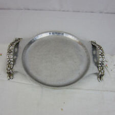 Vtg Hand Wrought Creations 443 Rodney Kent Aluminum Serving Tray Flower Handle
