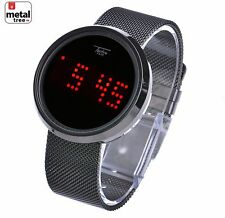 Hip Hop Techno Pave Digital LED Touch Screen Mesh Metal Band Watch WM 8245 HE