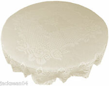 "CREAM HEAVY LACE ROSE SCALLOPED STAIN RELEASE 60"" - 150CM ROUND TABLE CLOTH"