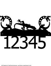 CUSTOM GECKO HOUSE NUMBER STEEL TEXTURED BLACK POWDER COAT FINISH