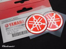 2X YAMAHA GENUINE 100% S. 30mm TUNING FORK LOGO RED SLVER STICKER EMBLEM DECAL