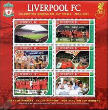 LIVERPOOL Football Club Stamp Sheet (2001 Grenada) UEFA/FA Cup Treble Winners