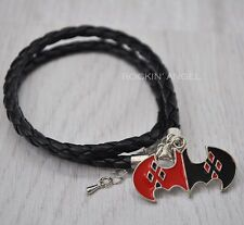 Leather Bracelet Wristband With a Harley Quinn Bat Ladies Mens Gift DC Batman