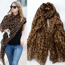 Newly FASHION CELEBRITY LONG SOFT ANIMAL LEOPARD PRINT CHIFFON SHAWL SCARF WRAPS