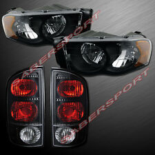 2002-2005 DODGE RAM 1500 / 03-05 2500 3500 BLACK HEADLIGHTS + BLACK TAIL LIGHTS