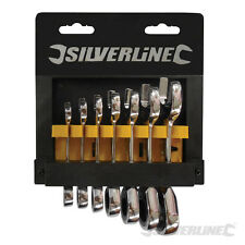 TS606 Silverline Stubby Ratchet Spanner Set 7pce 8 - 19mm Fixed Head Ratchet