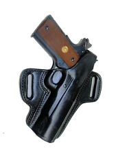 "Colt 1911 Pistol Holster For Clones OWB  5"" Locked & Cocked Black Leather Right"