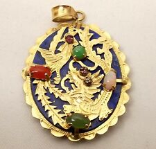 Vtg Chinese 14K Gold Lapis Lazuli Pendant Carved Dragon Jade Ruby Opal Ornate