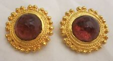 Stunning Designer Signed Satin Gold Purple Poured Glass Cabochon Earrings