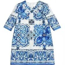 DOLCE & GABBANA Blue Majolica Brocade Dress Robe Size 7/8 - Sold Out Everywhere