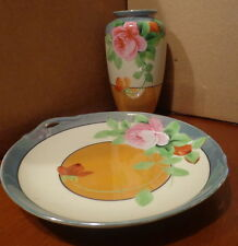 Vintage 1920s CHIKARAMACHI Hand Painted VASE and SERVING PLATE Made in JAPAN