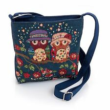 Shoulder bag-small -POUCH-zip PURSE-tapestry OWLS beige brown 22 x 19 cm  £5.99